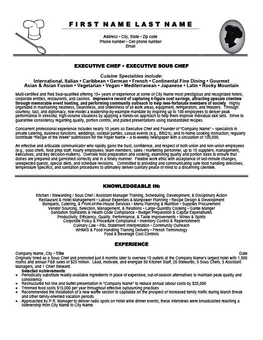 Executive Sous Chef Resume Template  Premium Resume