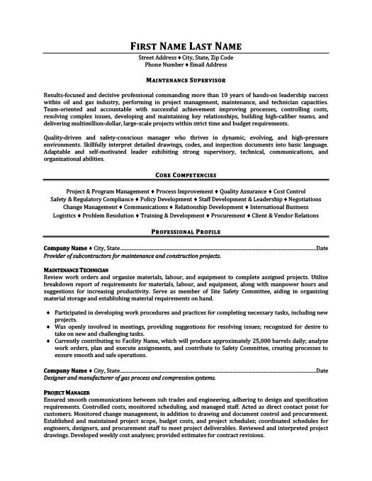 Maintenance Supervisor Resume Template