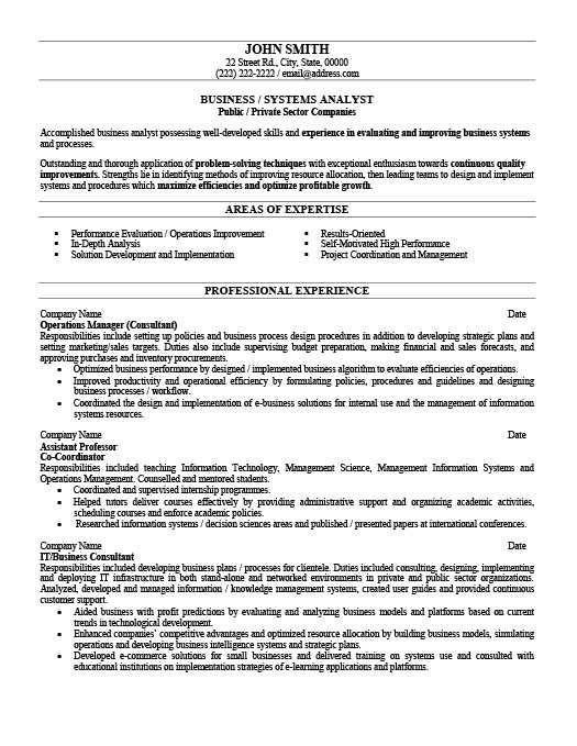 Business Or Systems Analyst Resume Template Premium Resume