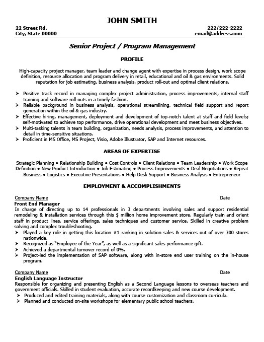 project controls resume example