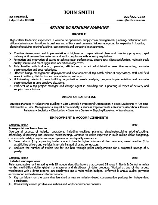 warehouse distribution manager resume samples