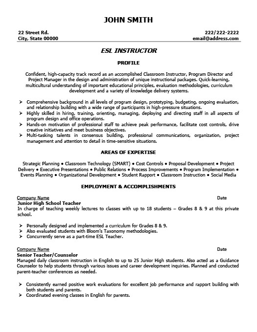 ESL Instructor Resume Template Premium Resume Samples & Example