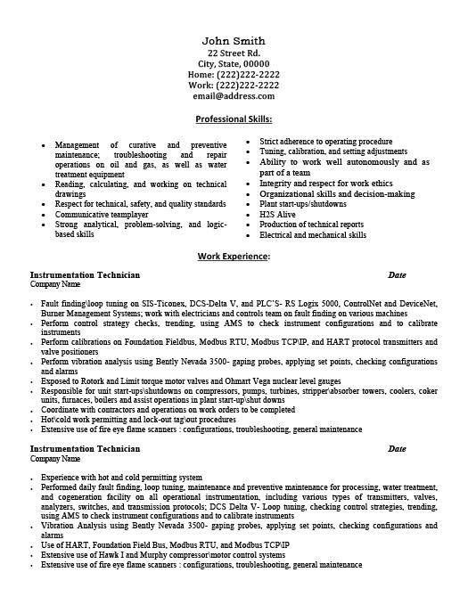 instrumentation technician resumes