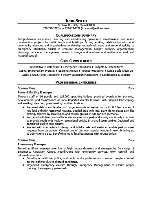 Parks And Facility Manager Resume Template Premium