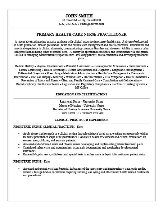 Nurse Practitioner Resume Examples Resume Ideas