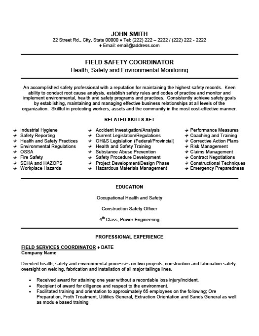 Field Safety Coordinator Resume Template Premium Resume Samples