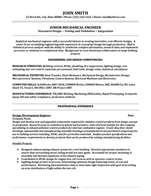 resume mechanical engineer
