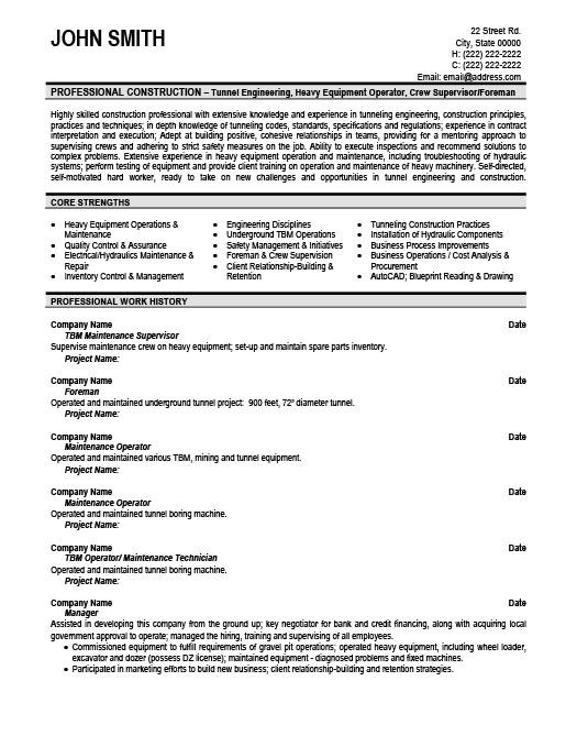 Maintenance Supervisor Resume Template - Resume Sample