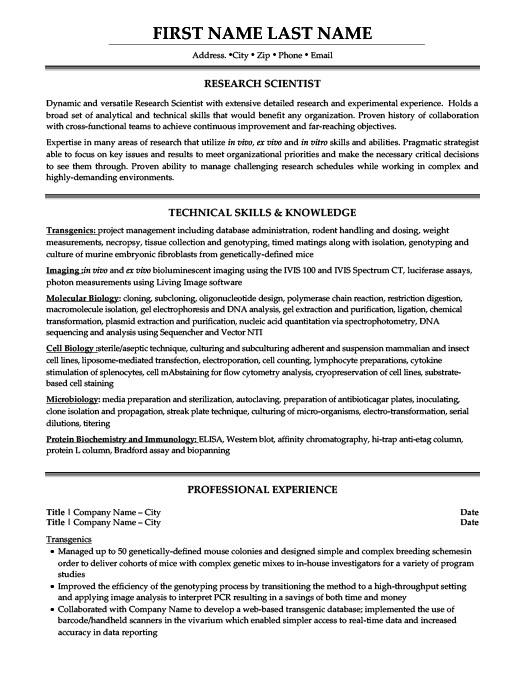 resume samples biotechnology