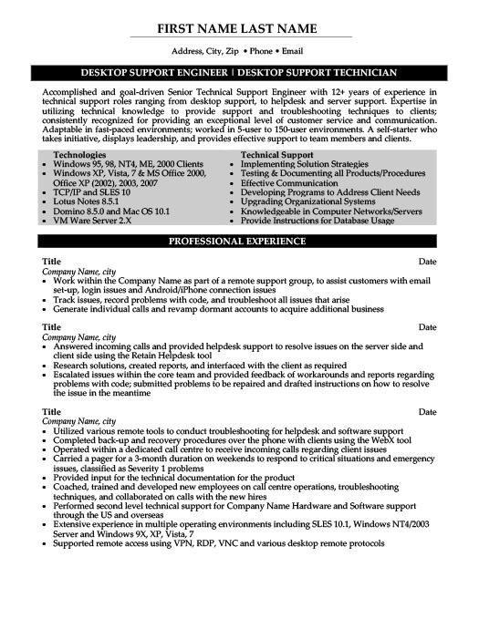 Desktop Support Engineer Resume Template Premium Resume Samples