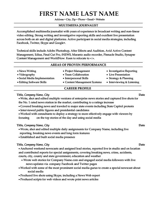 Multimedia Journalist Resume Template Premium Resume Samples