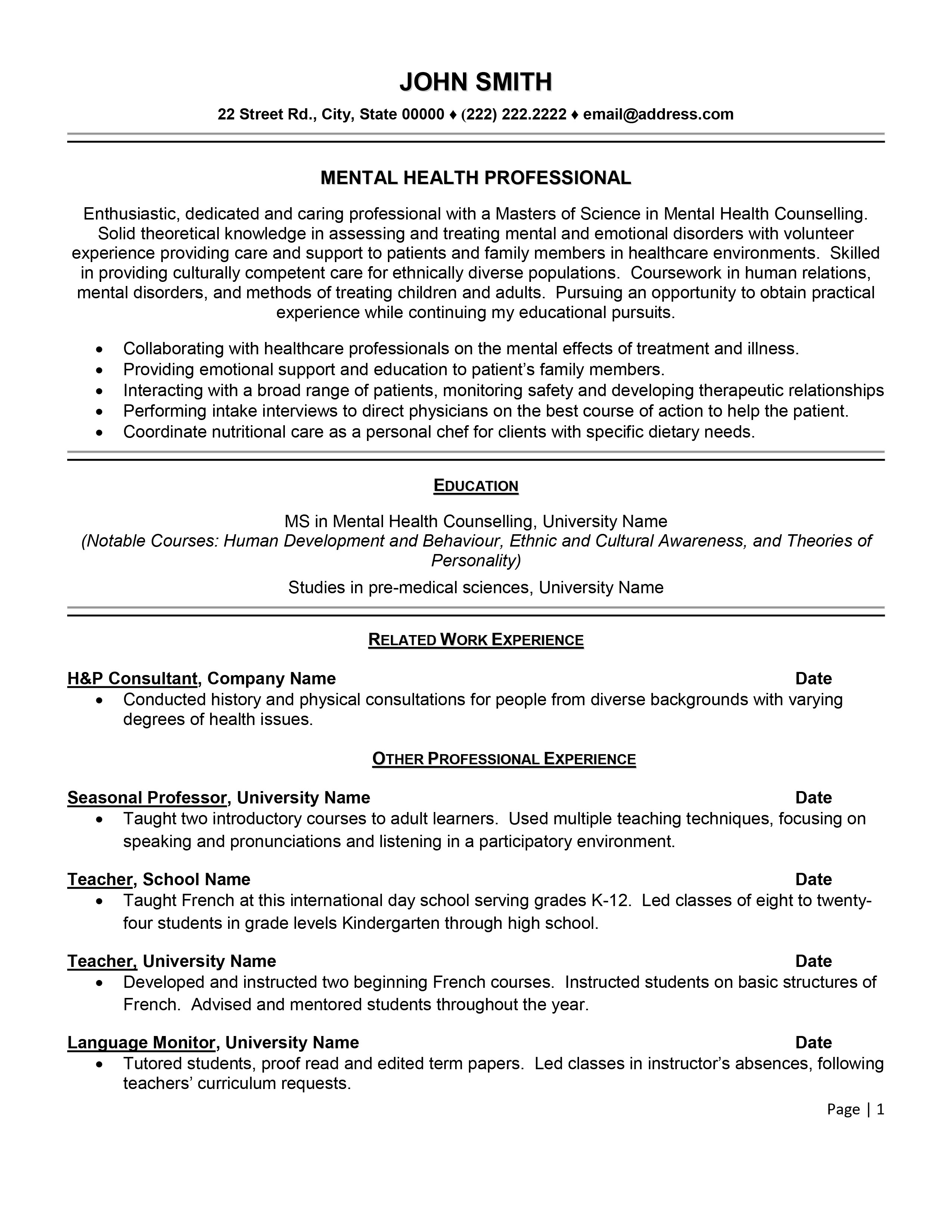 resume examples for mental health professionals
