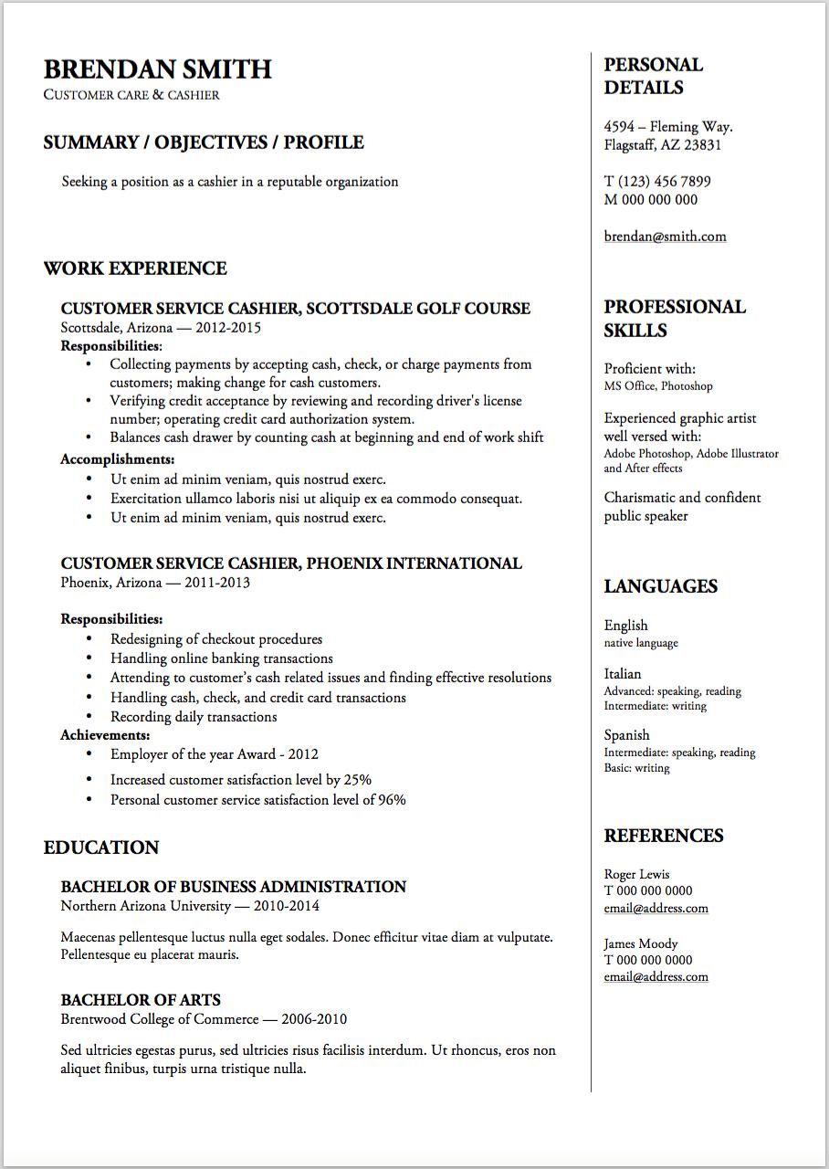achievements cashier sample resume