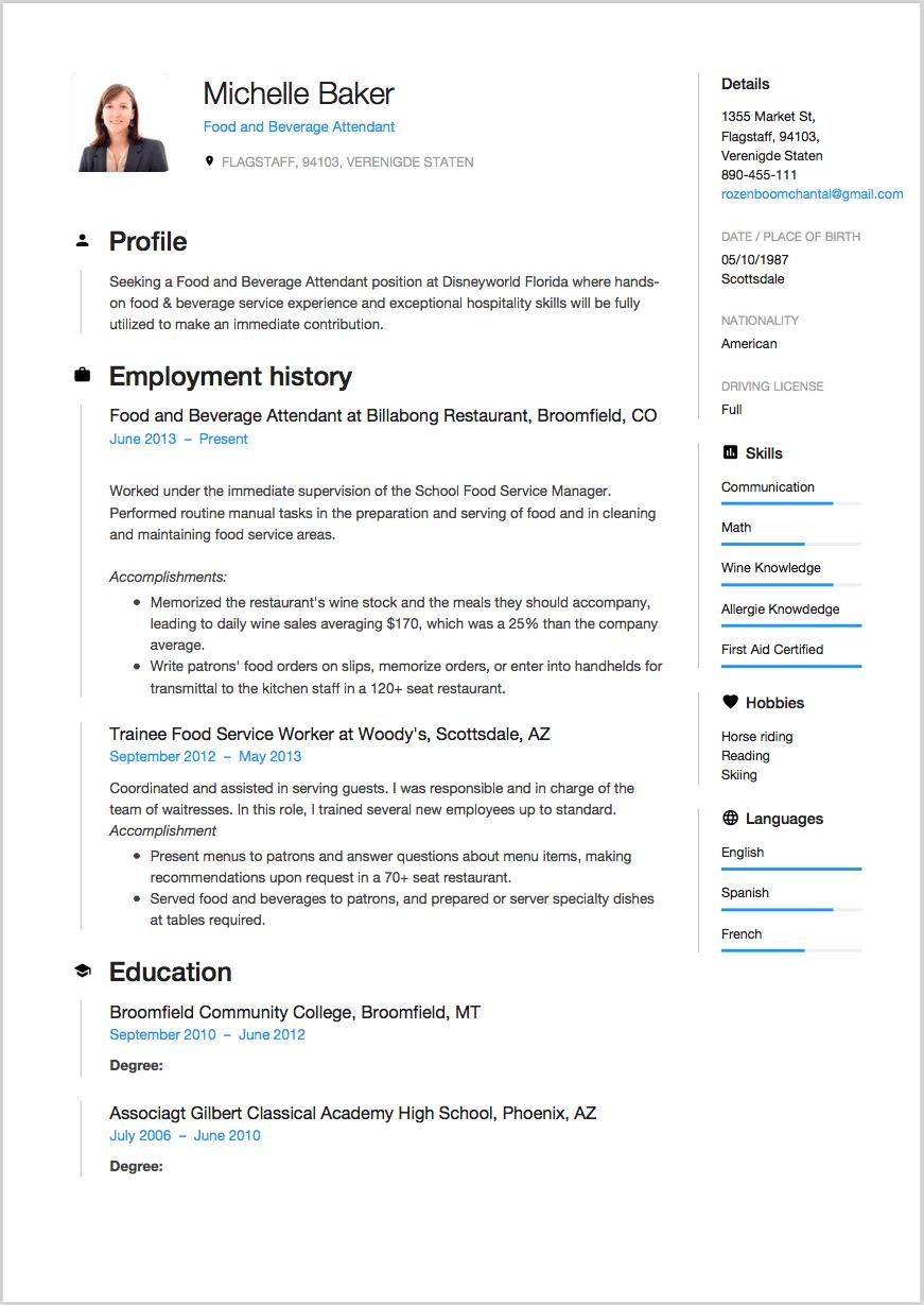 food and beverage attendant resume sample