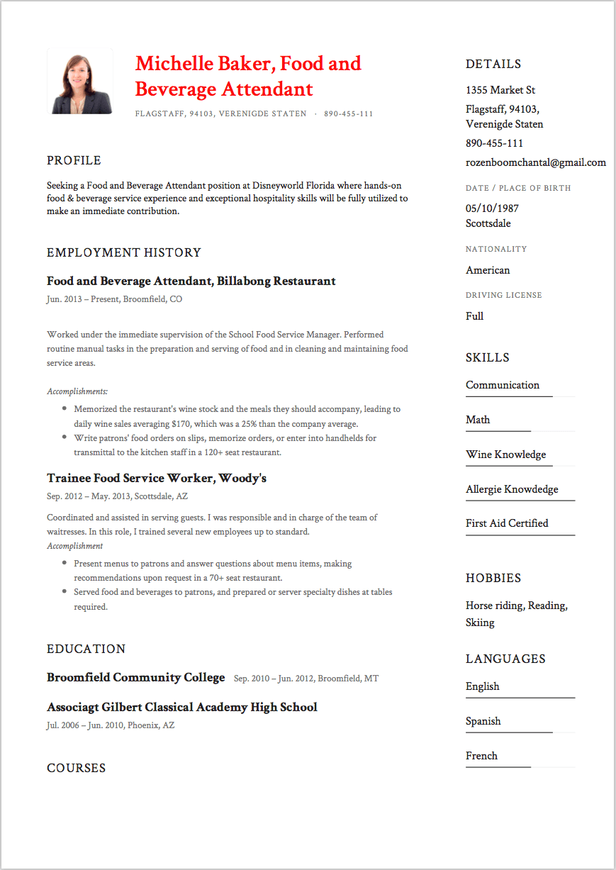 sample resume food and beverages