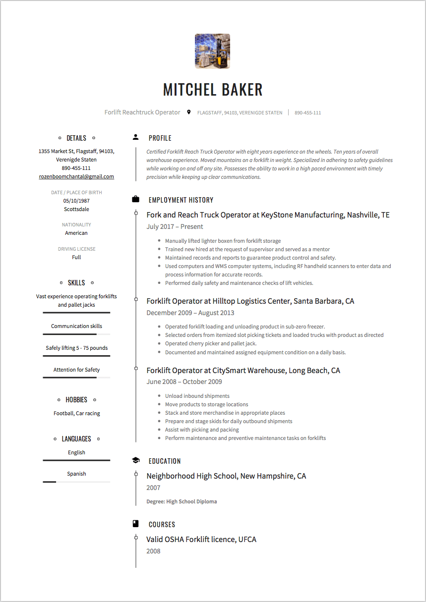 Forklift driver resume examples