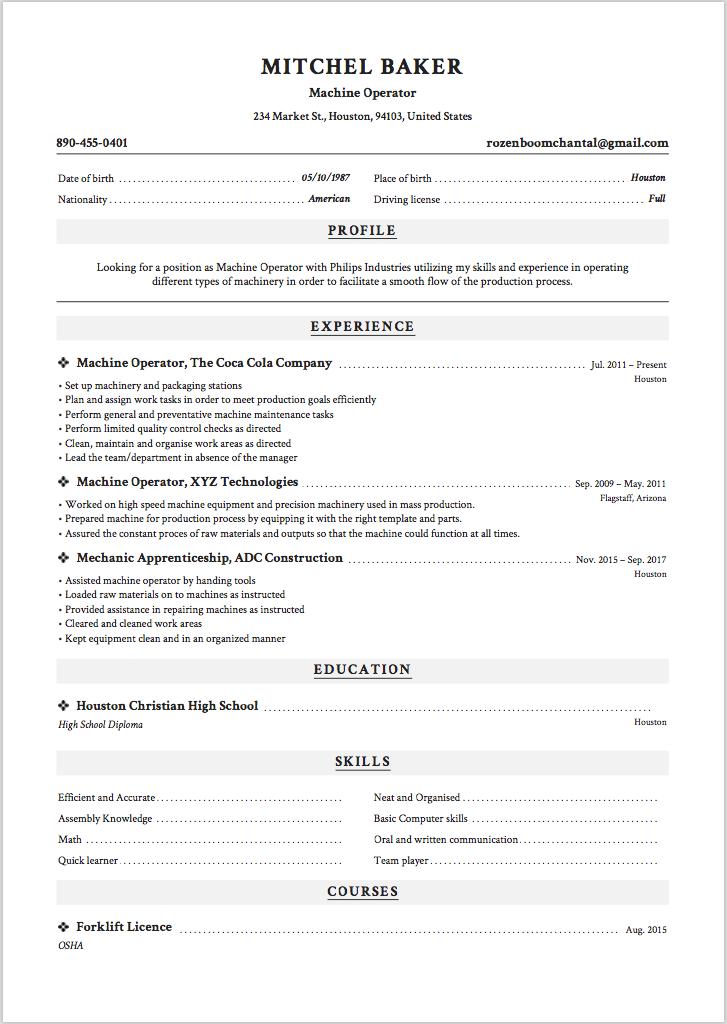 6 X Machine Operator Resume Sample ResumeViking Com