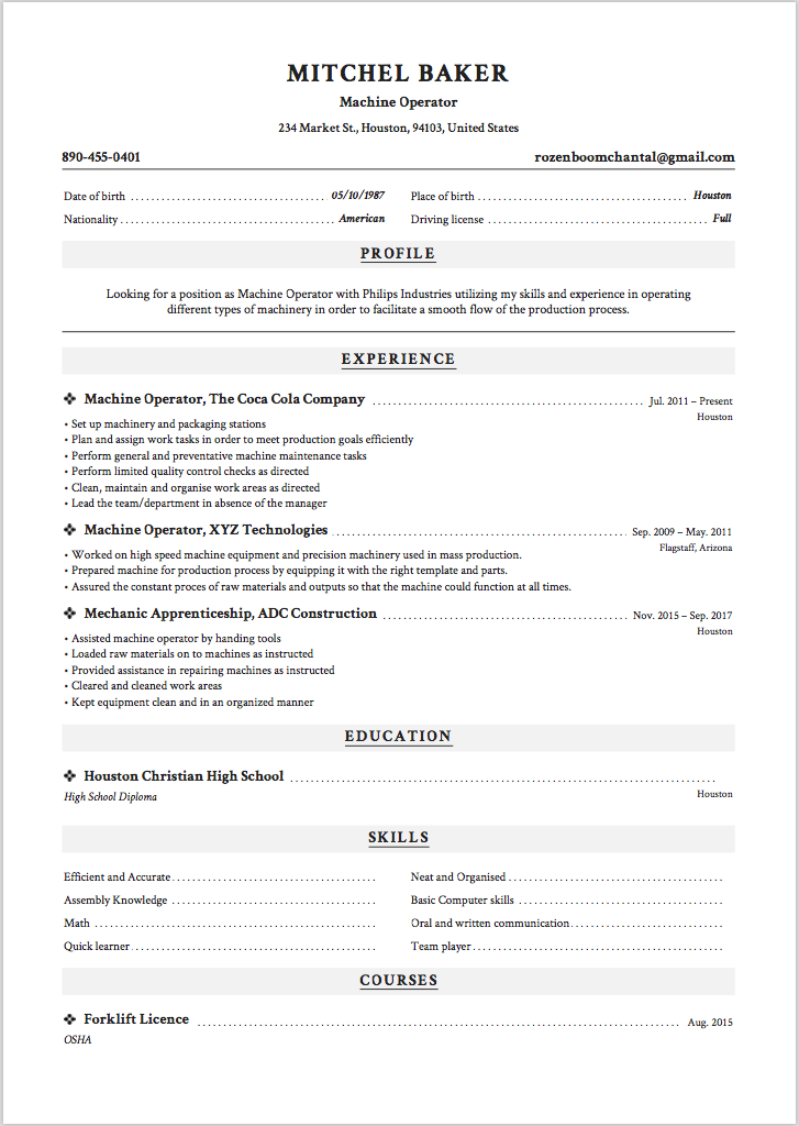 machine operator resume examples