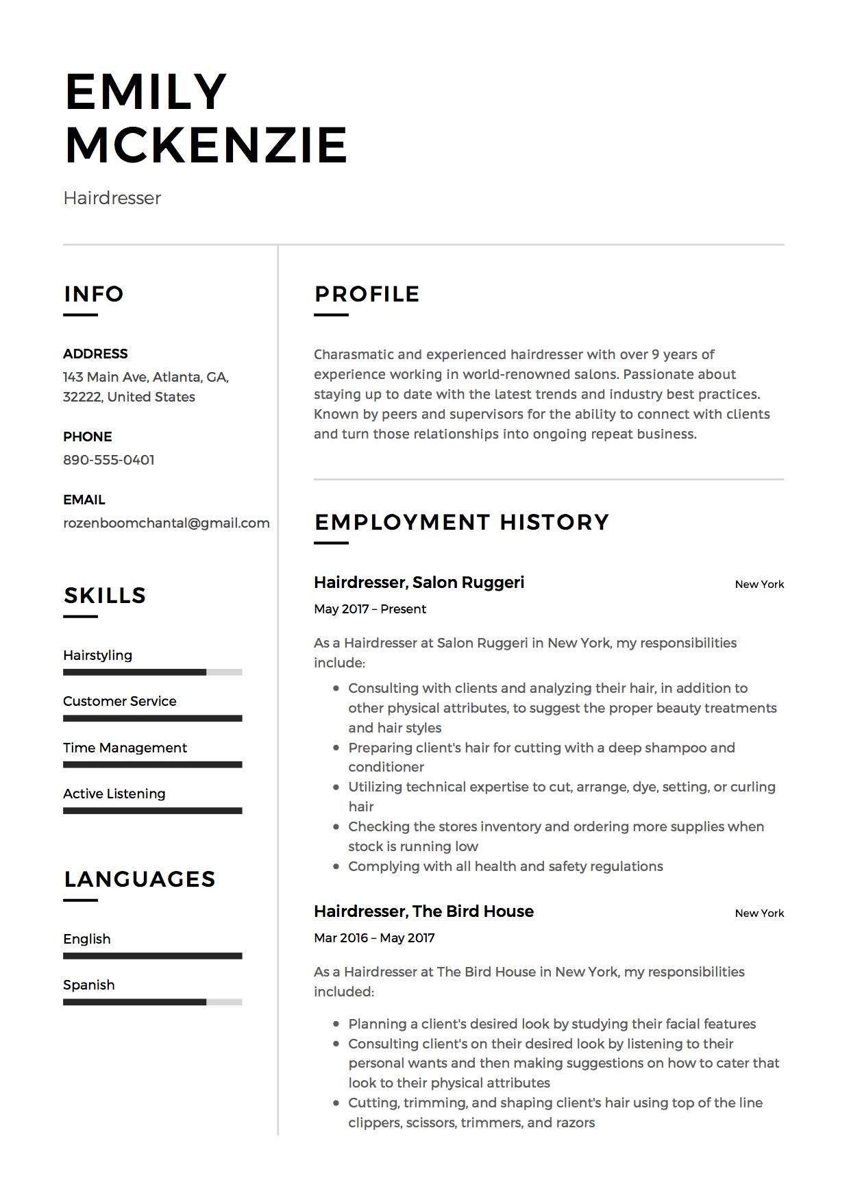 resume sample hairdresser