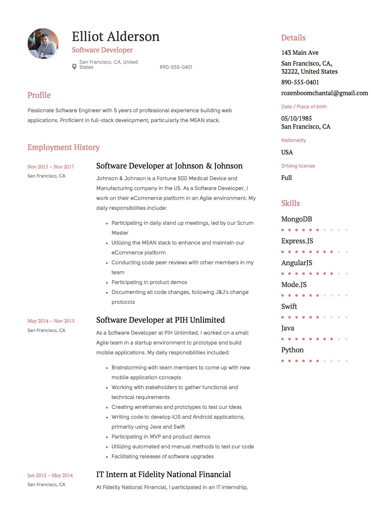 resume profile software developer