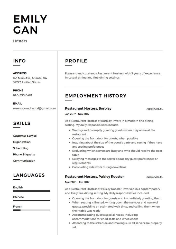 Restaurant Hostess Resume   12 Samples   PDF Documents  2019