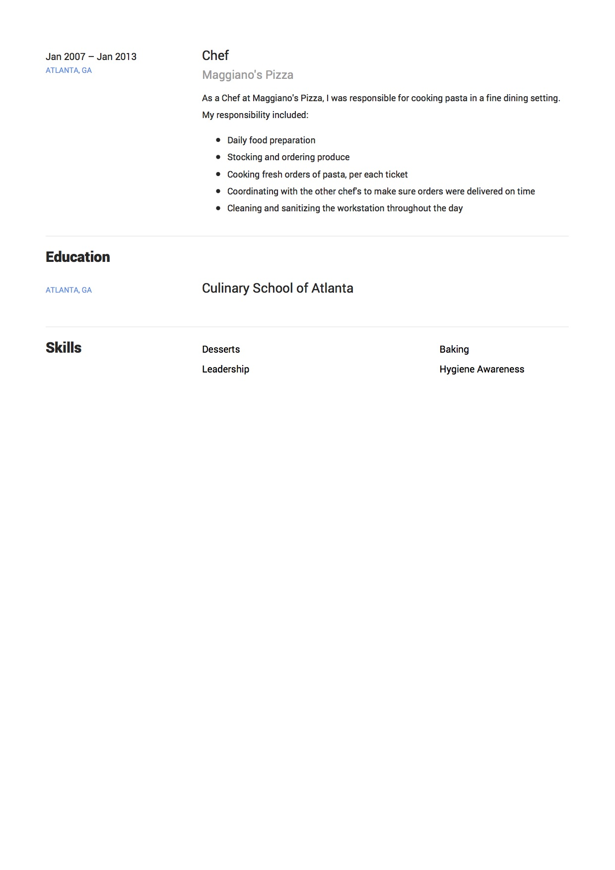 Resume Example Kitchen Chef Part Two