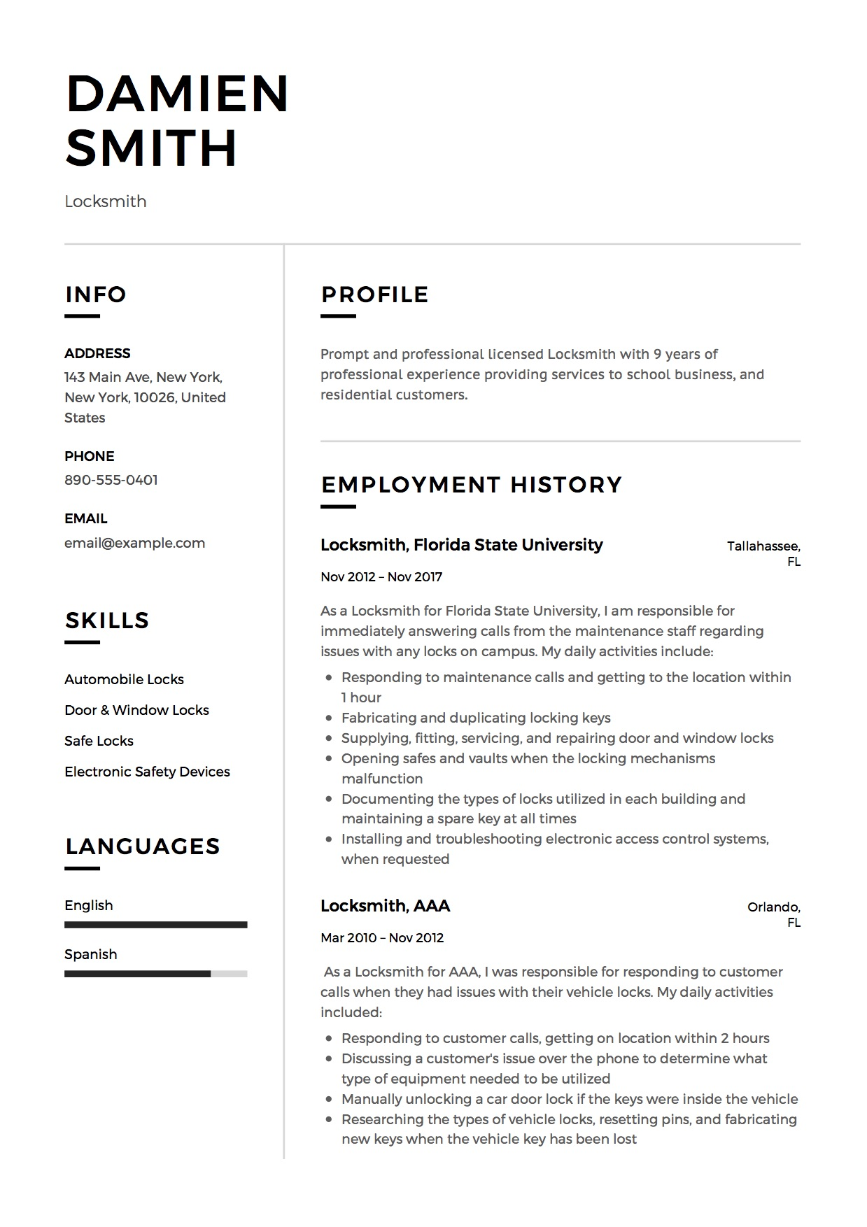 12 Locksmith Resume Sample S 2018 Free Downloads