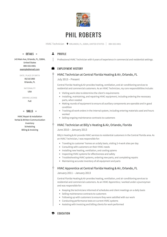 12 hvac technician resume sample