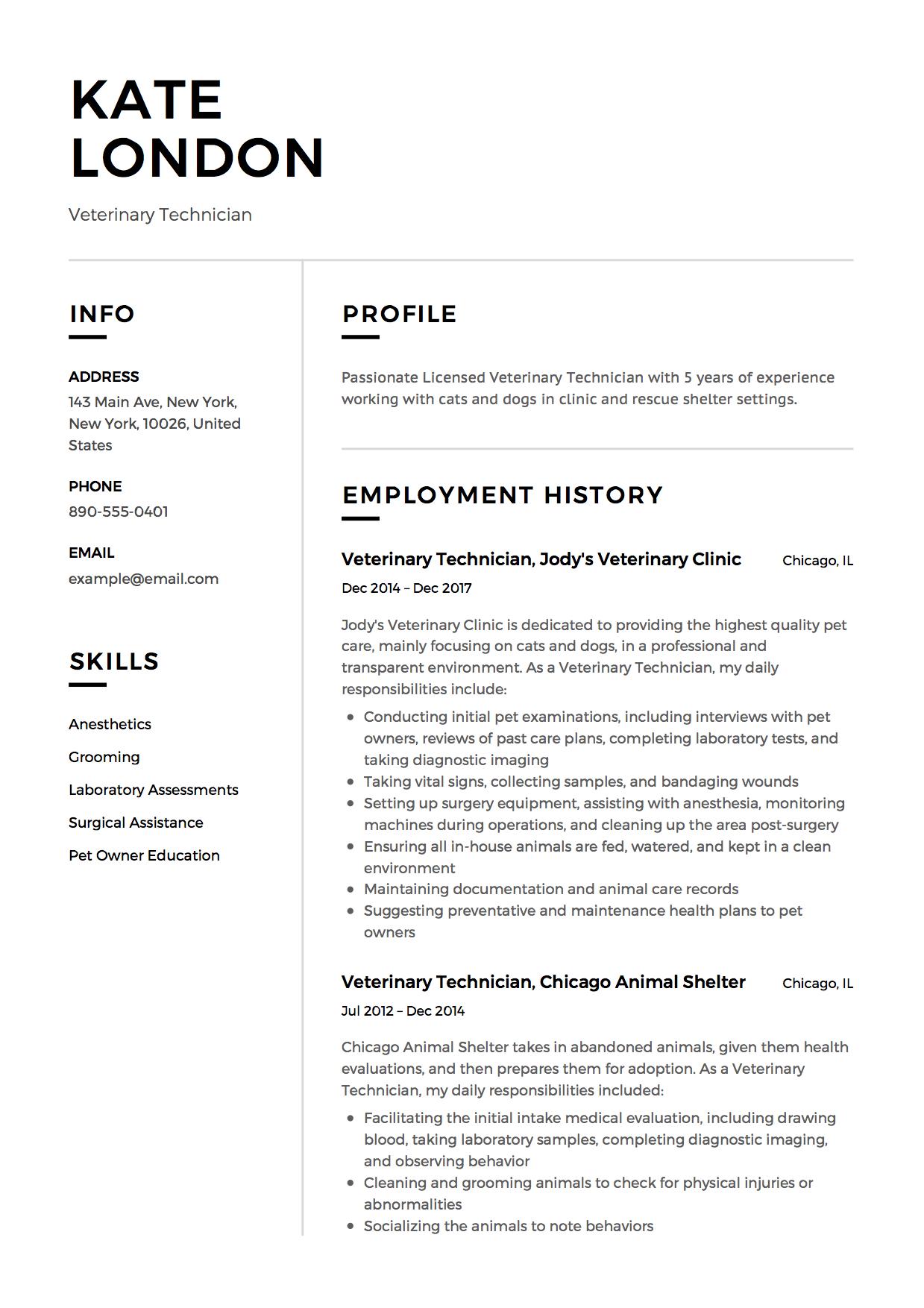 vet tech resume skills samples