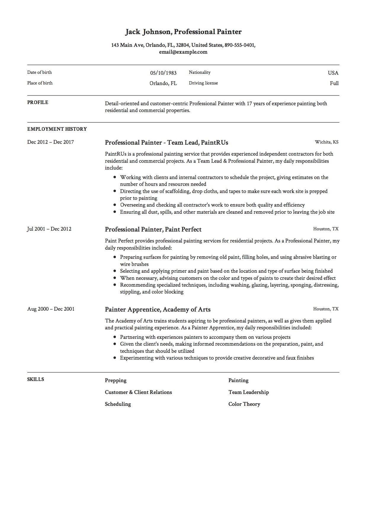 sample resume painting contractor
