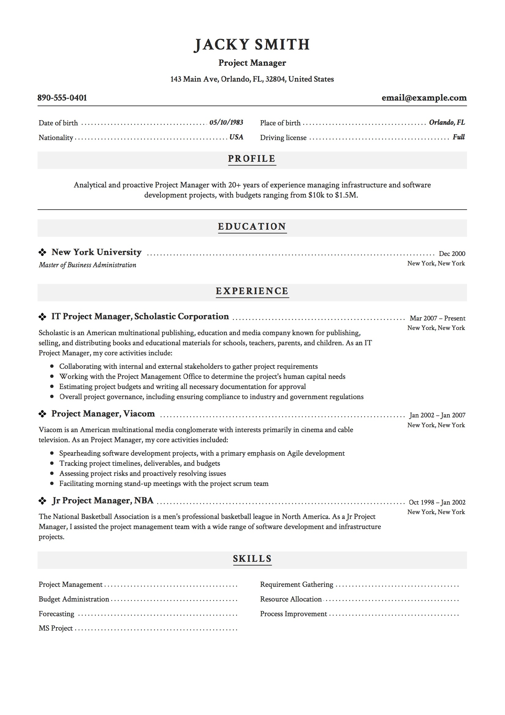 resume examples construction project manager