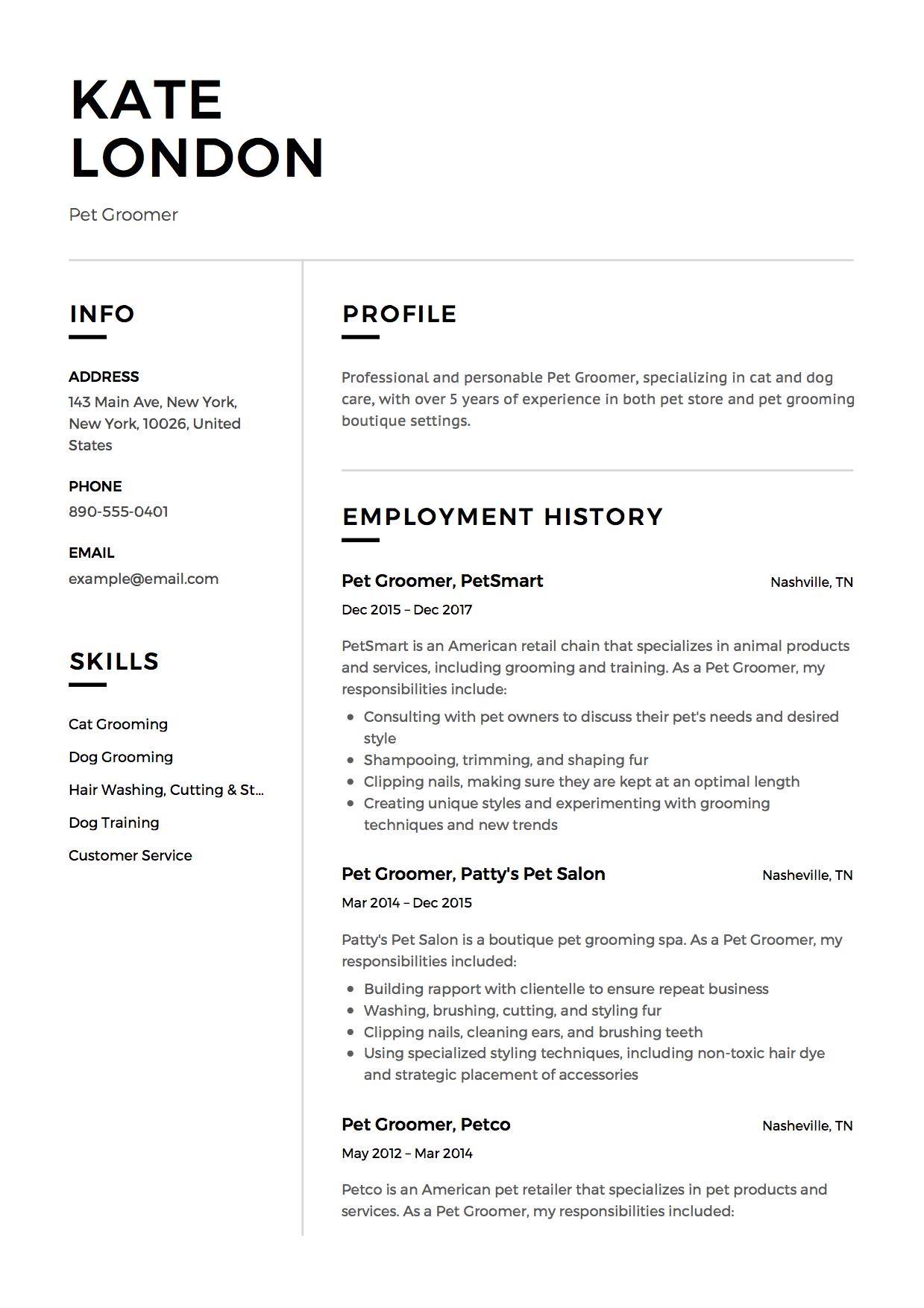 grooming resume template