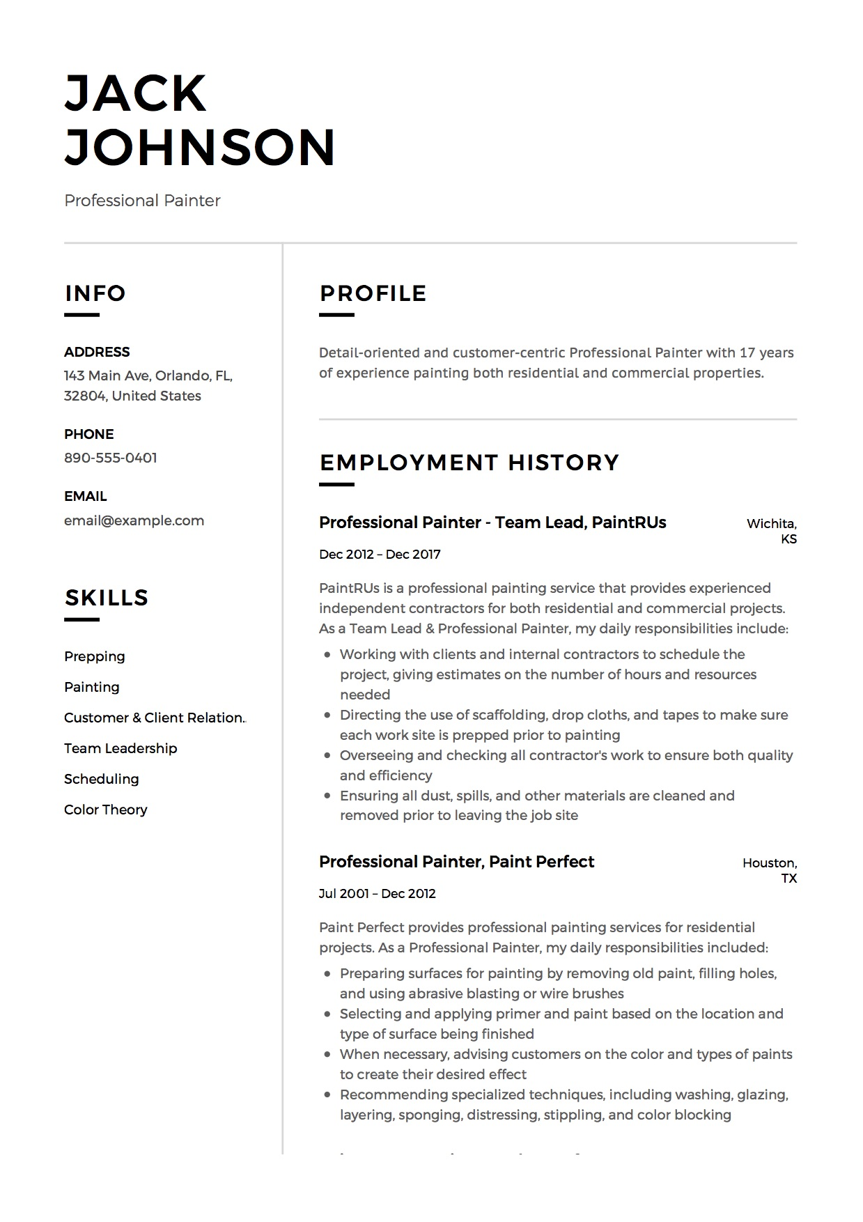residential painter resume samples