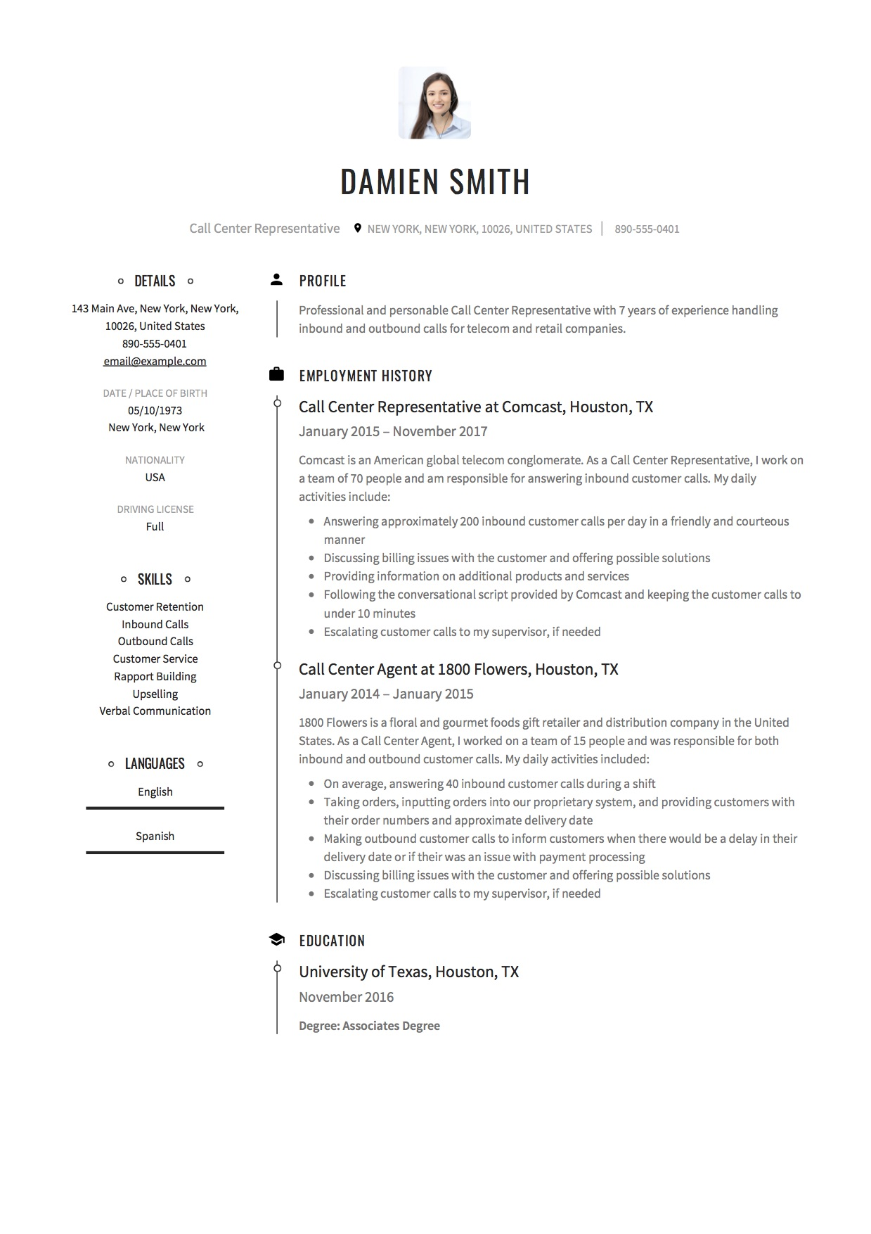 12 Call Center Representative Resume Sample S 2018 Free