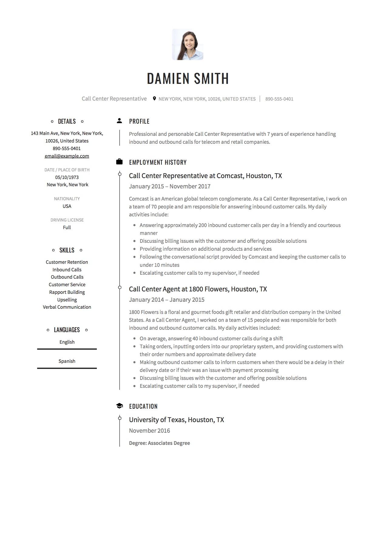 free call center resume samples