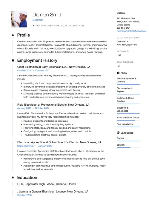 small resolution of download electrician resume samples in pdf