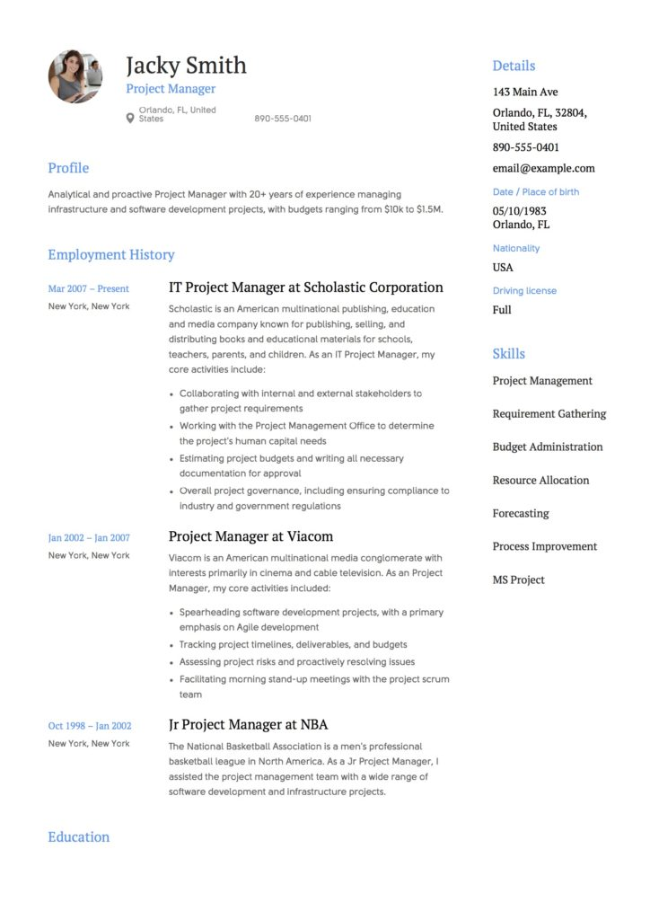 resume project list template