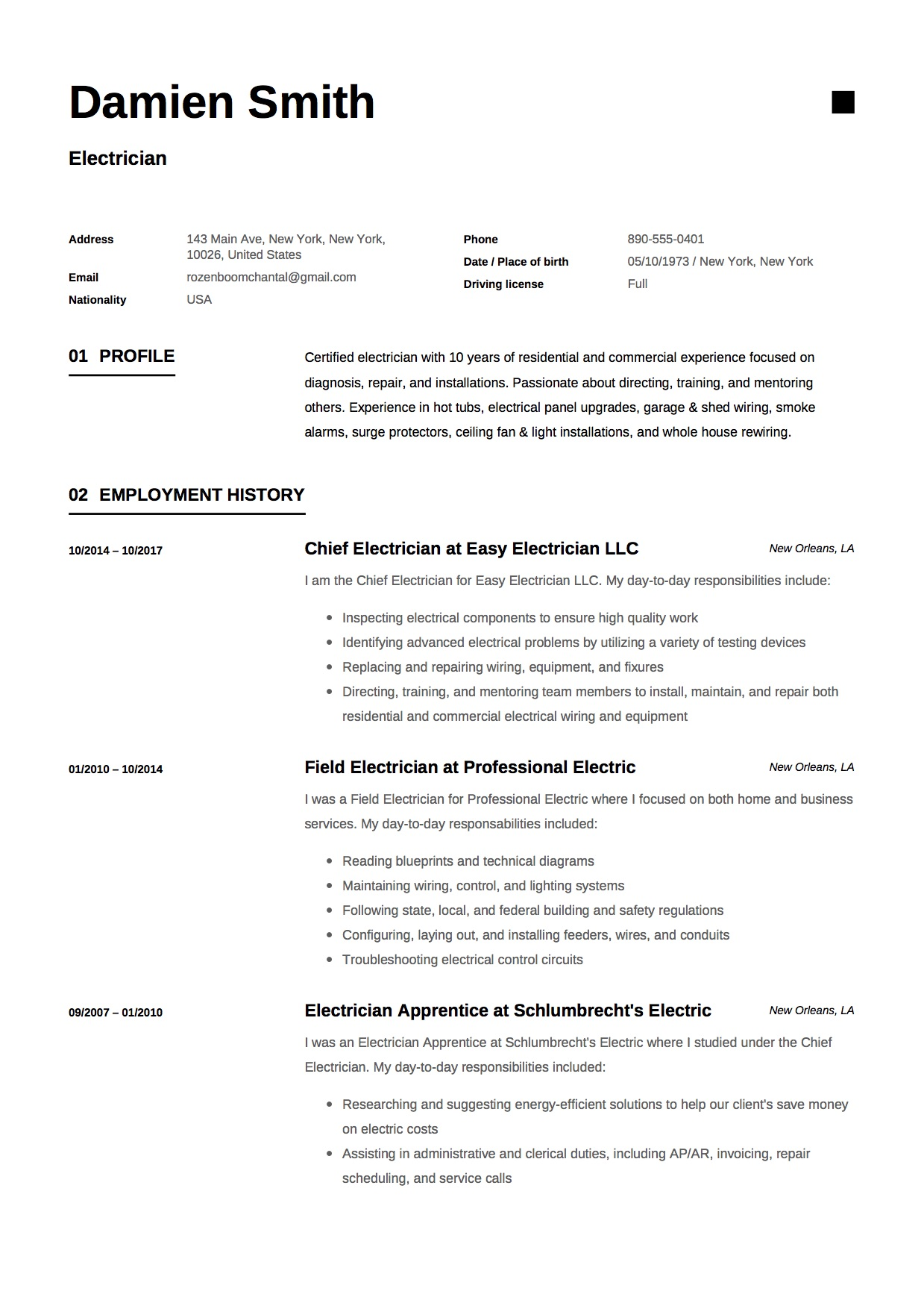 Electrician Resume Template