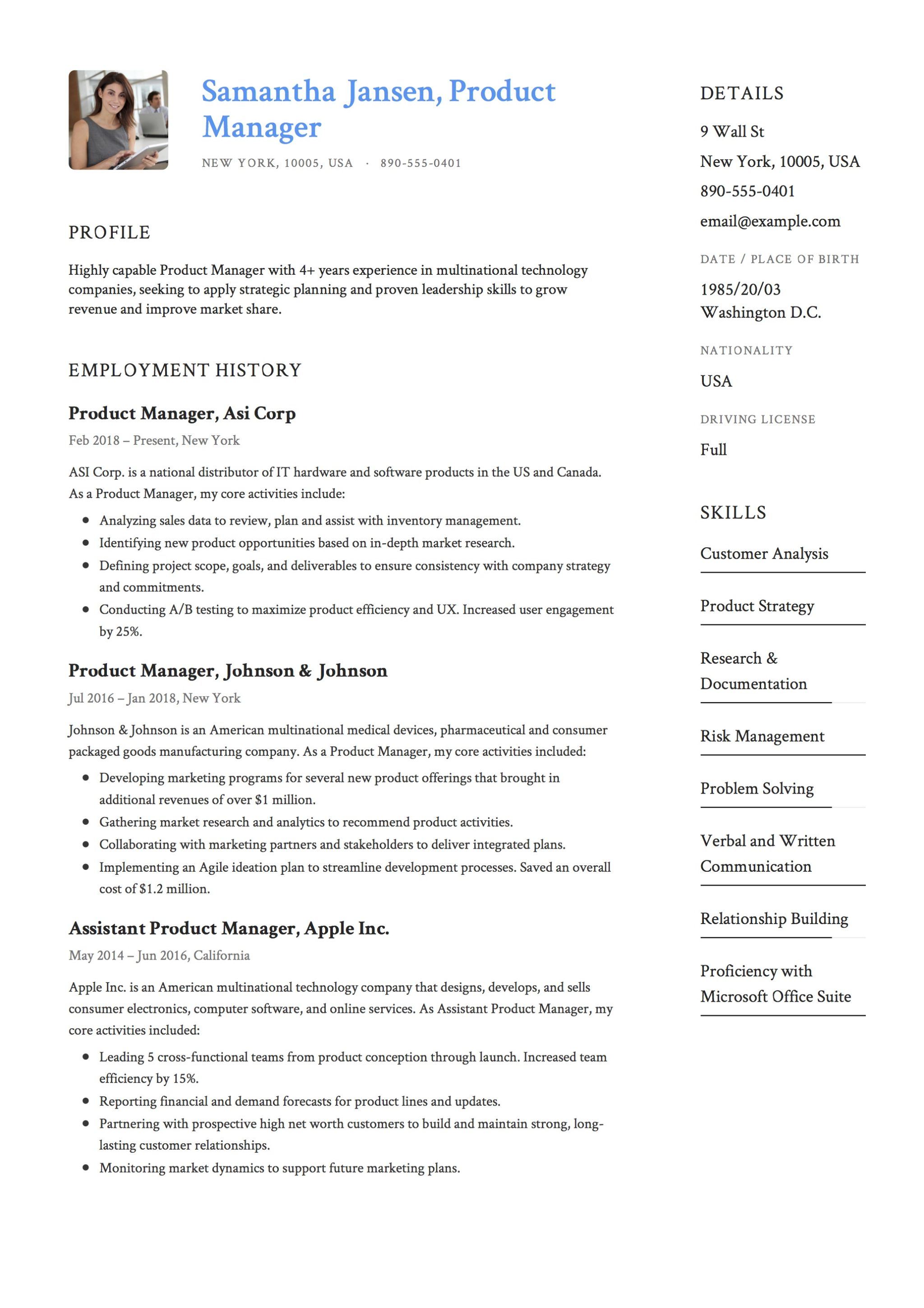 12 Product Manager Resume Samples  2018 Free Downloads