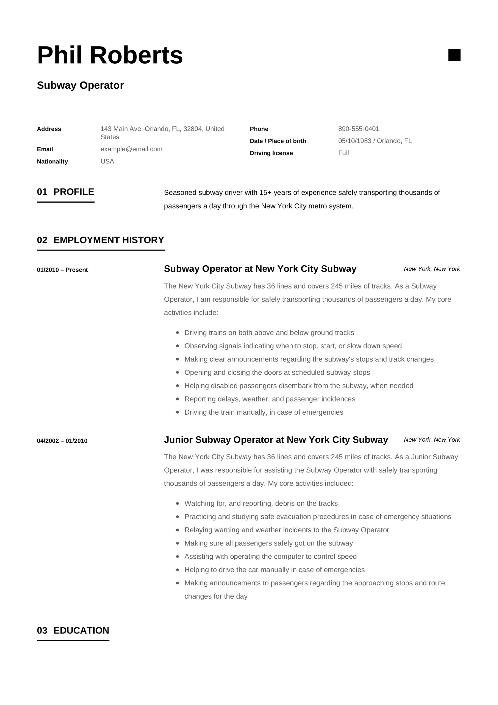 12 Subway Operator Resume Sample S 2018 Free Downloads