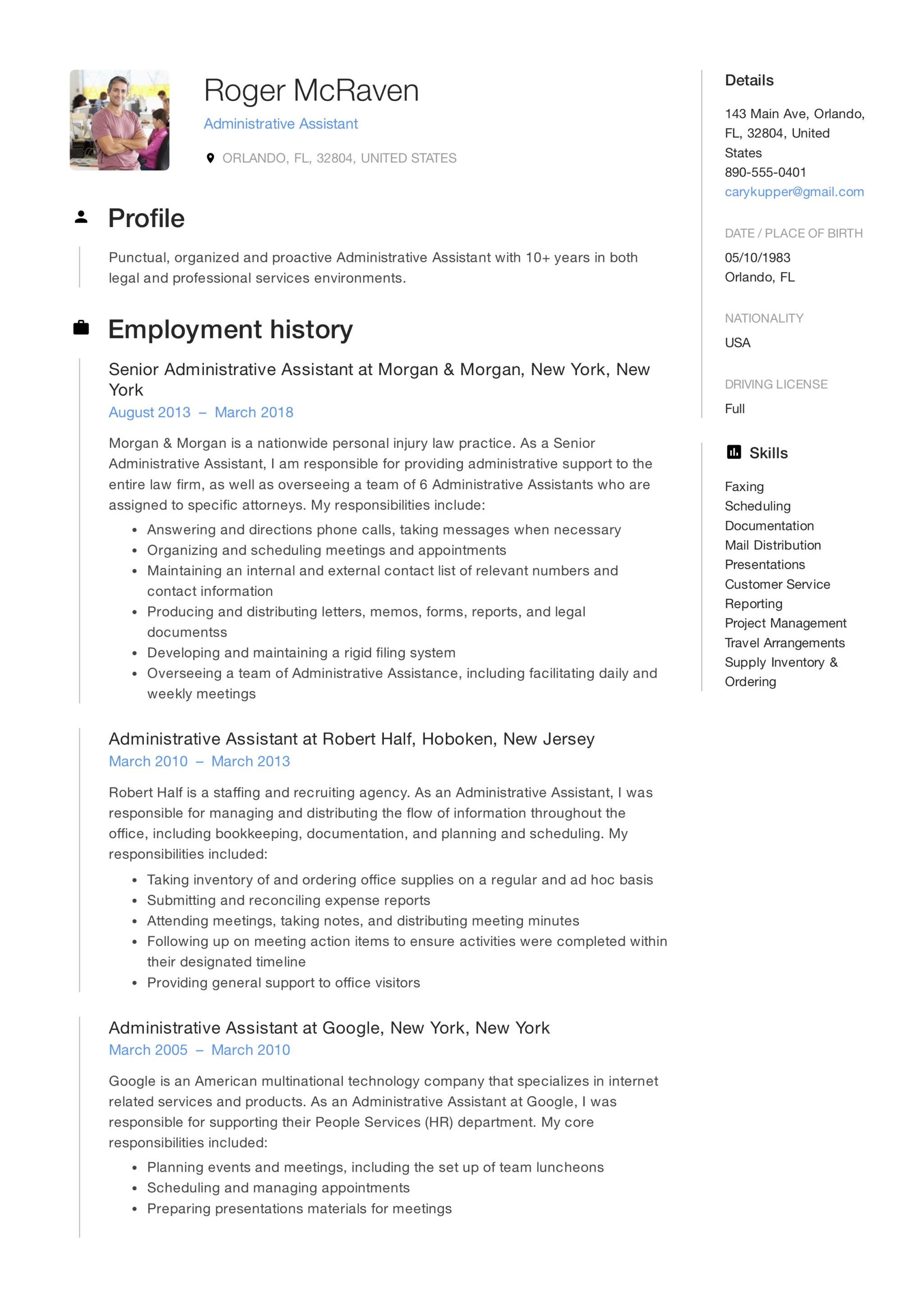 sample of resumes for administrative assistant