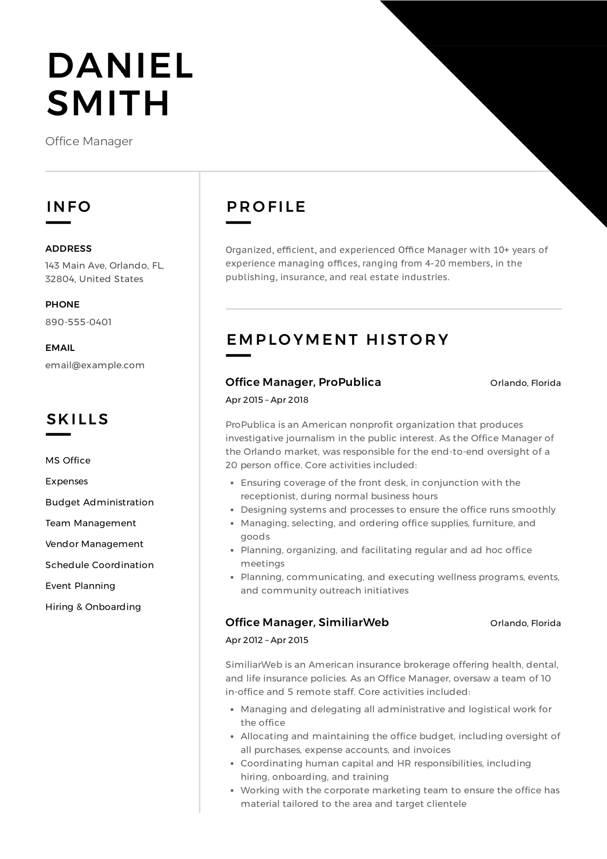 free sample of office manager resume