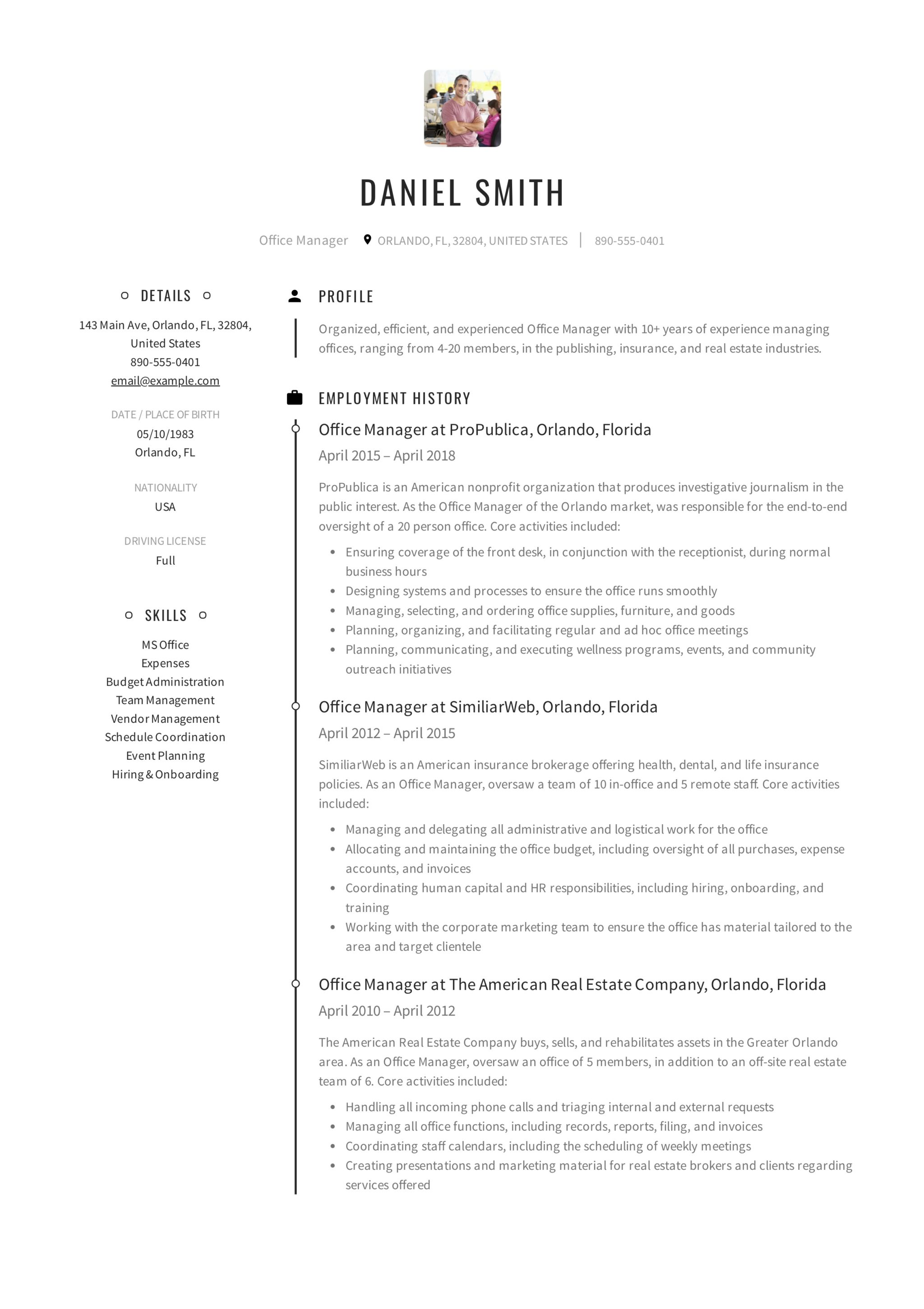 Resume Example Office Manager. Resume Template Office Manager