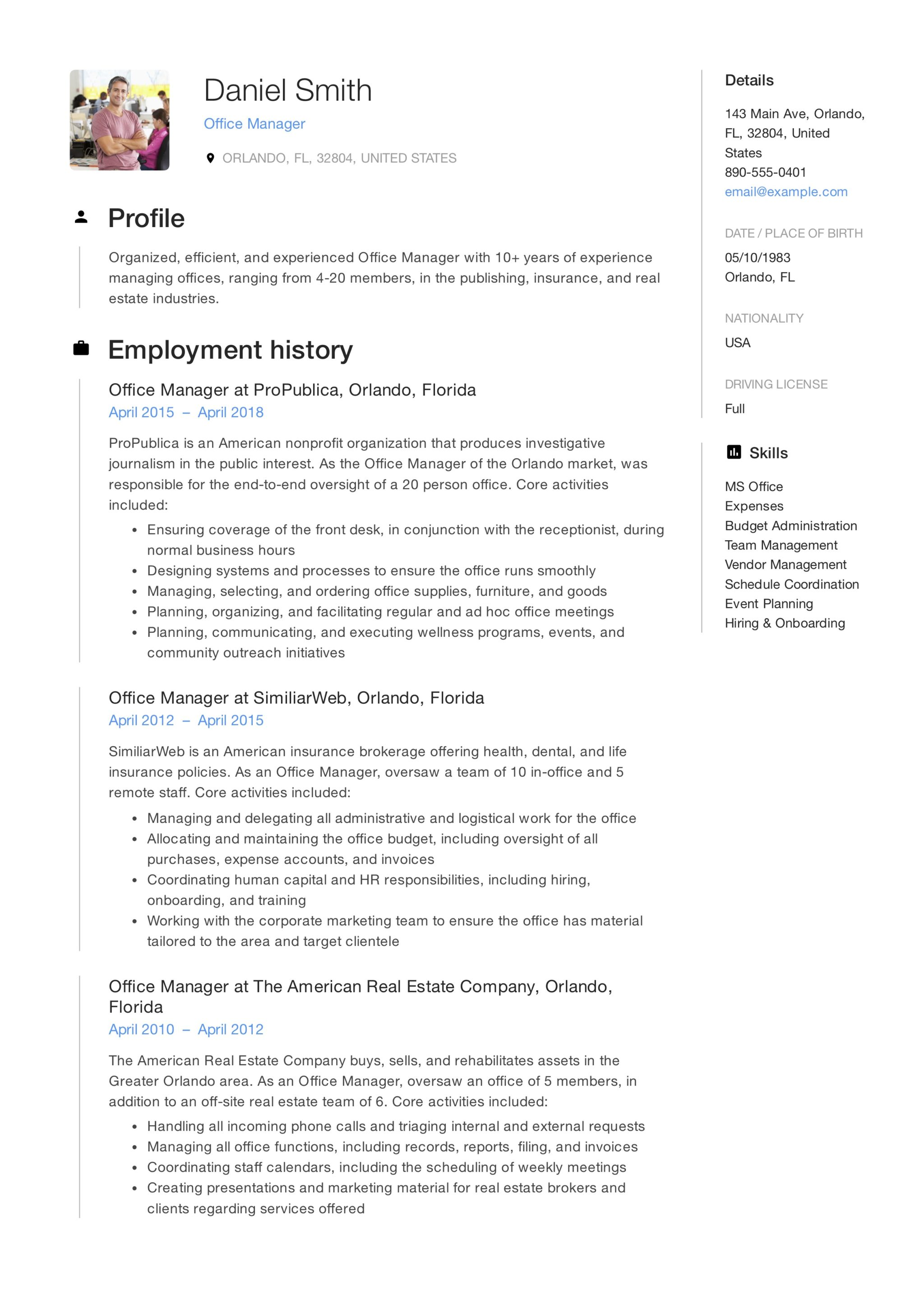 office manager resume summary examples