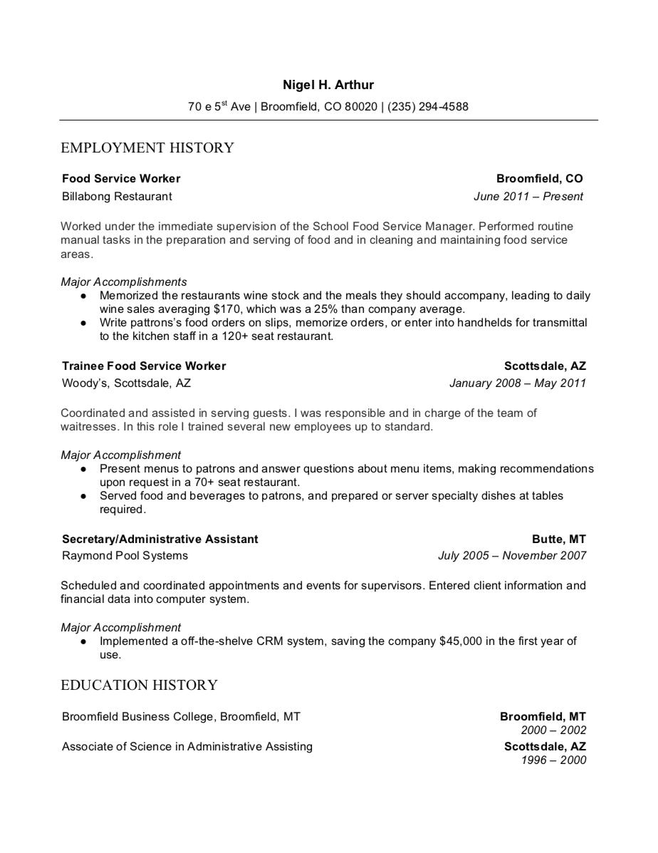 food customer service resume