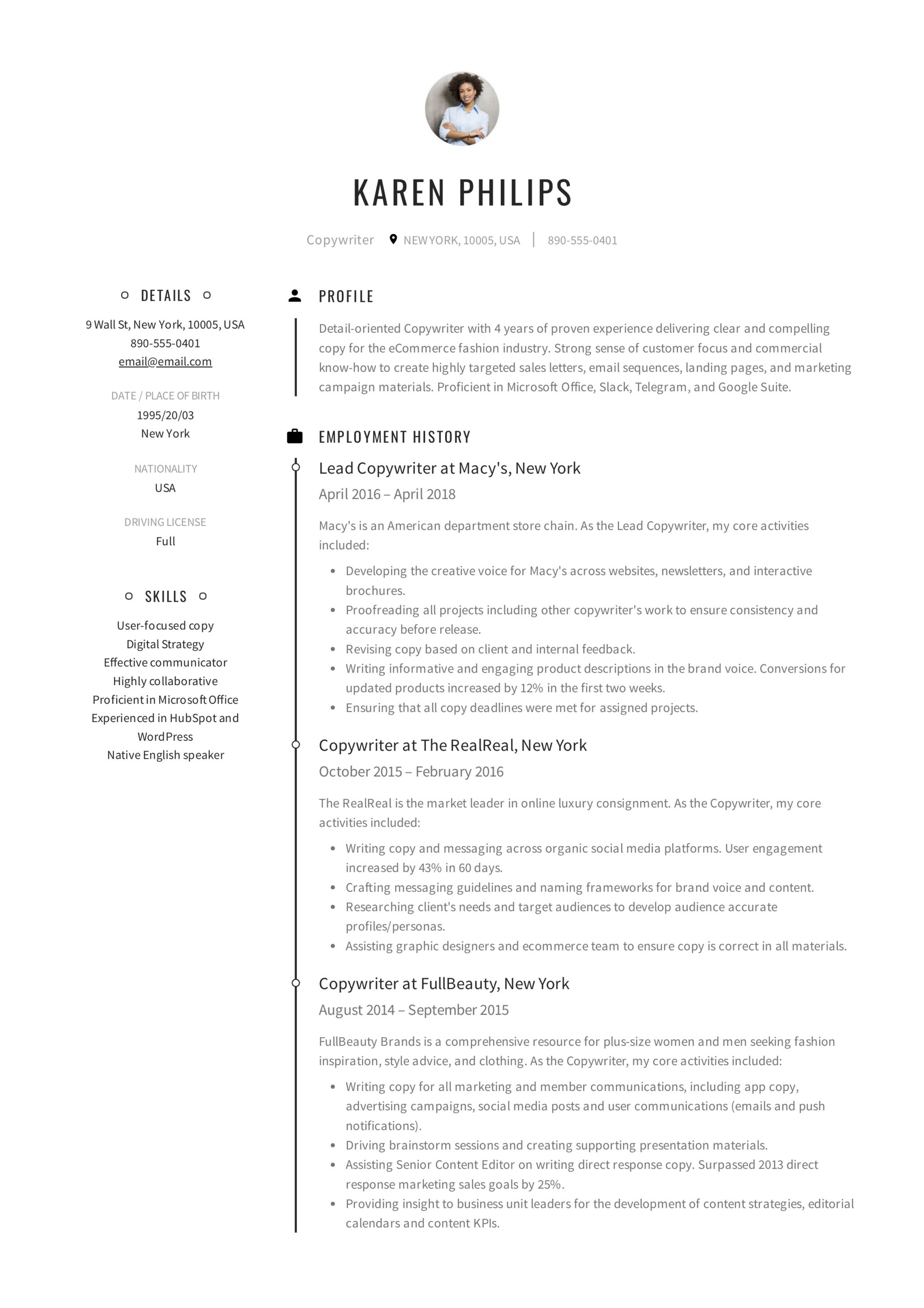 Guide 12 Different Copywriter Resume Samples 2019 PDF