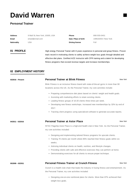 personal trainer resume sample pdf
