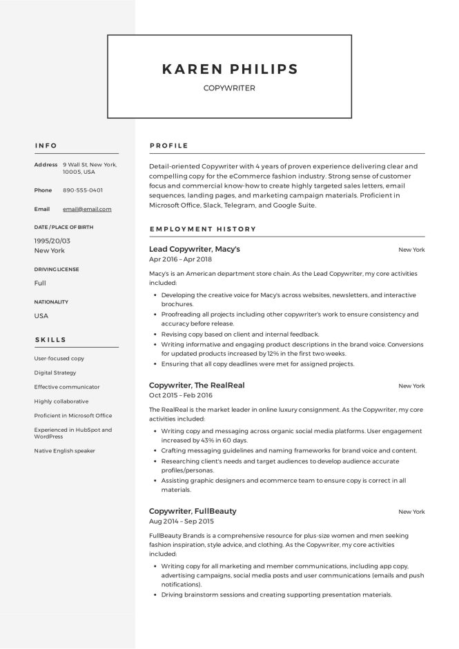Copywriter Resume Template - Resume Sample