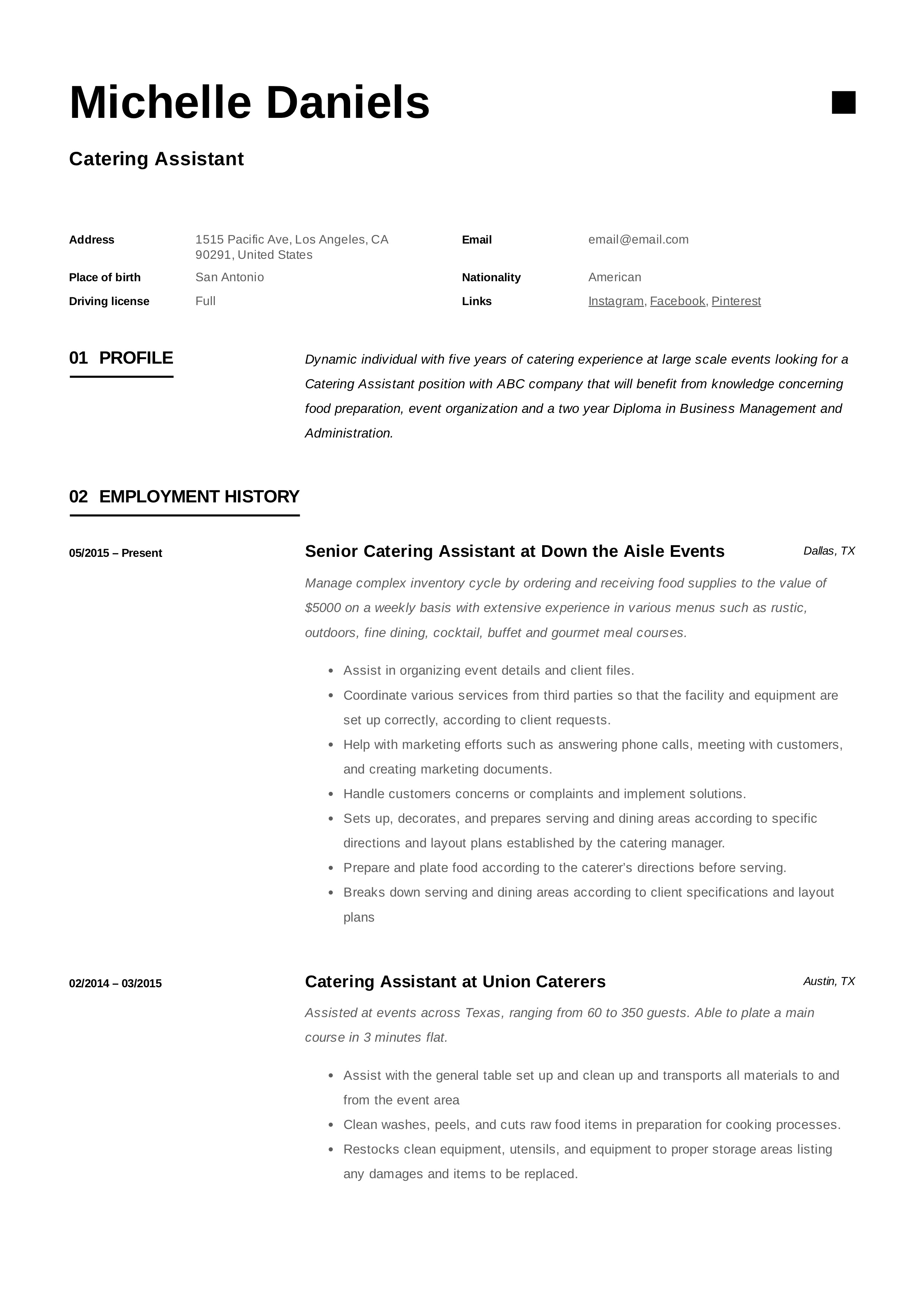 caterer resume examples