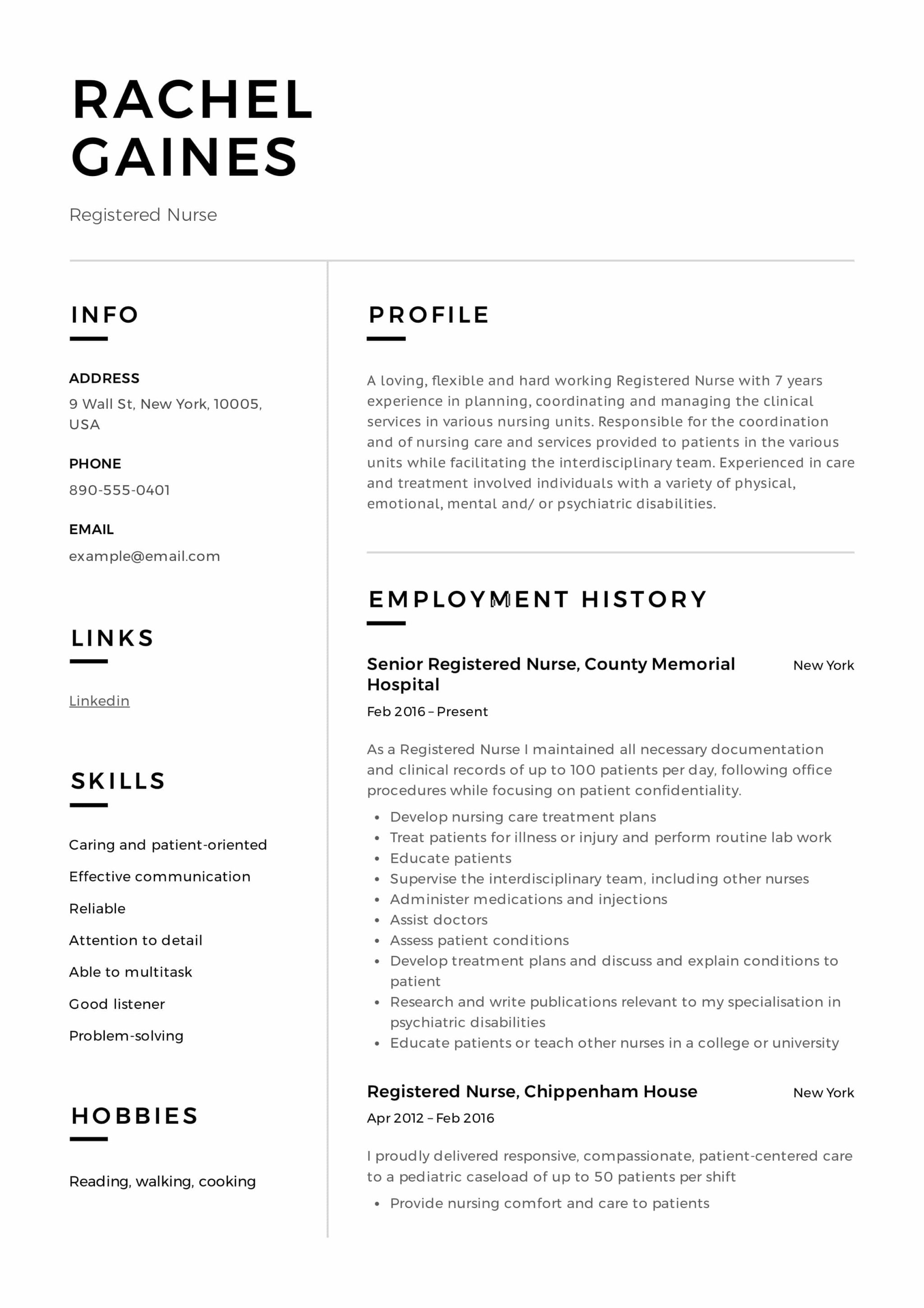 example nurse resume 2019